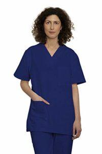 Uniforme Médicale Unisexes pour Hommes et Femmes – Ensemble: Haut et Pantalons Uniforme de la Santé pour Médecin Infirmières Dentistes – Tissu 100% Coton Sanforisé – Certif. Oeko-Tex (Blue, S)