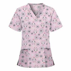 YOGALULU Haut de Bande Dessinée Femme Uniforme De Tunique De Soins De Santé Uniforms T-Shirt De Service MéDical Tops T-Shirt De Salon De Coiffure Spa Ongles De Travail Uniforme InfirmièRes