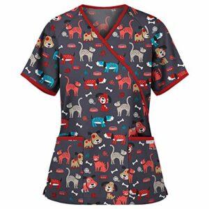 YOGALULU Médicale Vêtements de Travail,Unisex Uniforme D'Infirmière Haut avec Boutons avec Poches,Mignon Impression Uniforme médical Blouse Tunique Médicale Col V