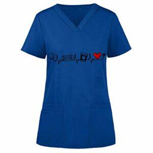 YOGALULU Vêtements de Travail Unisex Manches Courtes Médicaux Unisexe Universal Blouse Médicale Femme – Boutons Pressions Pur Coton Doux Confortable Femme Uniforme