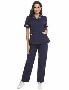 Abollria Ensemble Uniformes Coton Unisexe Uniforms Universel Label Blouse Tunique médicale Haut Blouse Portefeuille Blouse Uniforme Médical avec Haut et Pantalon