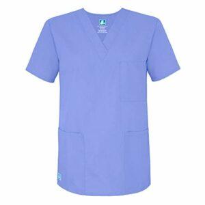 Adar Uniforms Uniformes Médicaux Unisexe Col V Tunique 3 Poches Haut d'infirmier Blouse d'Hôpital, Bleu (Ceil Blue), 2X-Poitrine:129-137cm,Hanche:127-134cm