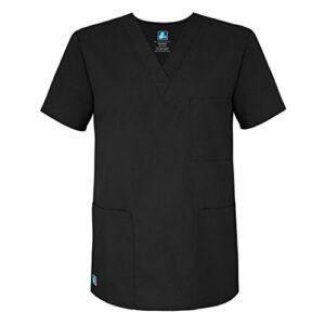 Adar Uniforms Uniformes Médicaux Unisexe Col V Tunique 3 Poches Haut d'infirmier Blouse d'Hôpital, Gris (Pewter), 3X-Poitrine:140-147cm,Hanche:137-145cm