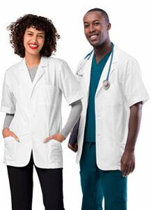 Adar Universal Blouse Médicale Unisexe – Tunique 79cm à Manches Courtes – 2816 – White – M