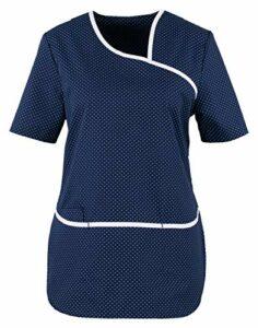 BEB Tunique à pois pour femme – Tunique à enfiler – Couleur : bleu/blanc – Insert stretch – Pour cabinet médical – Tissu mélangé à manches 1/2 – Fabriqué en UE – – XS