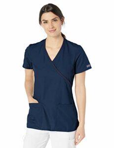 CHEROKEE – Blouse Médicale Femme Cache Cœur WW650 – Tunique Infirmière, Vétérinaire, Aide-Soignante, Kiné XS Bleu Marine