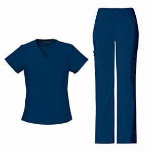 CHEROKEE Ensemble médical 2874 Flexibles à col en V pour femme – bleu – S Tops /M Petit Pantalons