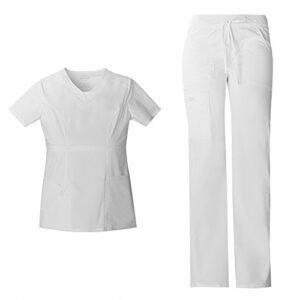 Cherokee Vêtement de travail pour femme – Coupe junior – Col en V – 24703 et pantalon cargo – Taille basse – Avec cordon de serrage – 24001 – Ensemble médical – Blanc – S/M