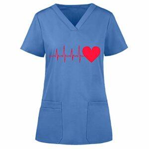 Dasongff Tunique à Enfiler avec Motif EKG – Col en V Vêtement Professionnel pour Femme Manches Courtes infirmières, dentistes, médecins, Filles de Service, étudiants, médecins vétérinaires