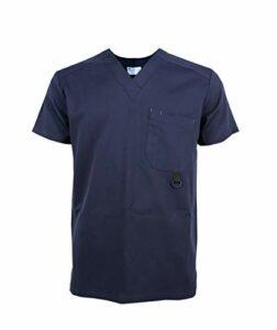 JONATHAN UNIFORM Unisexe Blouse Medicale Col V, Uniforme Infirmière Médecin Blouse d'Hôpital avec Poches pour Homme et Femme, Uniforme d'Hôpital Scrub Top (Bleu, L)