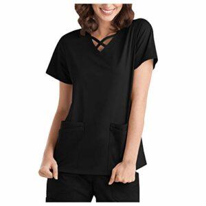 Lomelomme Blouse Tunique Femme Couleur infirmière Manche Courte Uniforms Vêtements avec Poches Vetement Vetement Travail Uniforme Col V Confortable