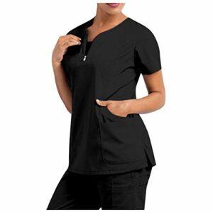 Lomelomme Infirmières Manches Courtes Femme de la Santé pour Tee-Shirt d'infirmière Blouse V-Neck Style Clinique HÔSPITAL Nettoyage Uniforme de la Santé pour Médecin