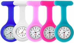 Lot de 5 montres d'infirmière avec bracelet en silicone et broche