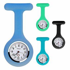 MUFENA Lot de 4 montres d'infirmière en silicone avec épingle, montre à clip, montre de revers, contrôle des infections pour médecins, ambulanciers, infirmières, cadeau d'infirmière