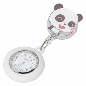 Scicalife Montre pour Infirmières Médecins- Panda en Forme de Montre De Poche pour Femmes- Soins Infirmiers Montre Clip sur Rétractable Suspendus Montre pour Infirmière Médecins