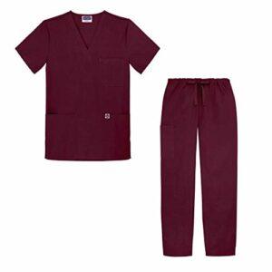 Sivvan Tenue Médicale Unisexe Classique – Blouse Col en V & Pantalon à Cordon – S8400 – Burgundy – 3X