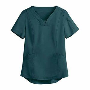 Snakell Universal Blouse_Médicale Unisexe Tunique Col en V Femme Tunique de Travail Uniforme_Médicale-Uniforme avec Poches Manches Courtes Blouse Lâche Haut de Infirmière Travail