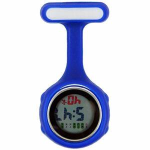 Topzilly Bleu Digital Unisexe Multi Function Coque en silicone infirmière/tunique/broche//poche/Mousqueton montre