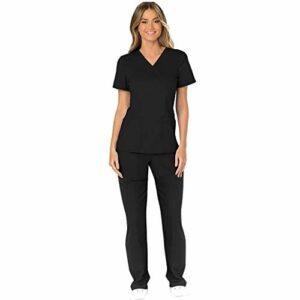 WULOFA Ensemble Uniformes Femme,Unisexe Blouse – Uniforme Médical avec Haut et Pantalon – Uniforme Médical à Manches Courtes Vêtements de Chirurgicaux Blouse Chimie Infirmière Laboratoire