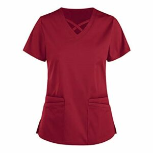 YOGALULU Blouse Chimie,Vêtement Medical Femme Ensemble Uniform Blouse Médical Uniforme Médical avec Haut et pour Hôpital Pharmacie Spa de Beauté et Clinique Chemise Confortable Bon Marché