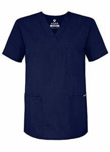Adar Uniforms Uniformes Médicaux Unisexe Col V Tunique 3 Poches Haut d'infirmier Blouse d'Hôpital, Bleu (Navy), 4X-Poitrine:149-157cm,Hanche:147-155cm