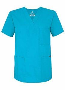 Adar Uniforms Uniformes Médicaux Unisexe Col V Tunique 3 Poches Haut d'infirmier Blouse d'Hôpital, Turquoise (Turquoise), M-Poitrine:109-114cm,Hanche:104-109cm