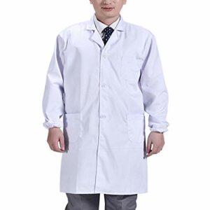 Artibetter Hommes Manteau Médical à Manches Longues Blouse de Laboratoire avec Poches Médecin Costume Gommage Manteau pour Hôpital Laboratoire (Blanc) Taille M