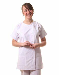 Hopitex Texsan-Blouse/Tunique infirmière col Ras de Cou-Blanc-T2