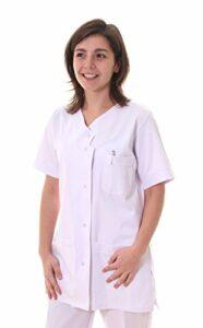 Hopitex Texsan-Blouse/Tunique infirmière col V-Blanc-T3