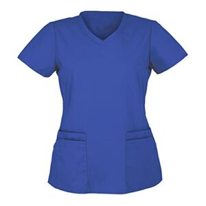 LRWEY Haut de Infirmière Vetement Medical Manche Court Uniforme Médicale Manche Court Haut de Travail Col en V avec Poche Top de Laboratoire Médical Chemise Top Angel
