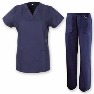 Misemiya – Ensemble Uniformes Unisexe Blouse – Uniforme Médical avec Haut et Pantalon HÔTELLERIE Ref.7078 – XX-Large, Bleu Marine
