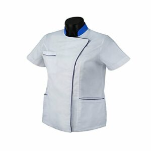 Misemiya Medical Uniforms Scrub Top Blouse, Blanc (Blanco 2), 38 (Taille Fabricant: Small) Femme