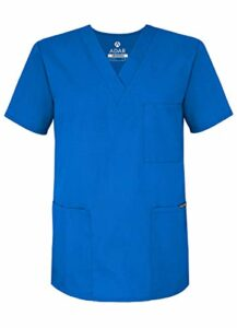 Adar Uniforms Uniformes Médicaux Unisexe Col V Tunique 3 Poches Haut d'infirmier Blouse d'Hôpital, Bleu (Regal Blue), XL-Poitrine:122-127cm,Hanche:117-124cm