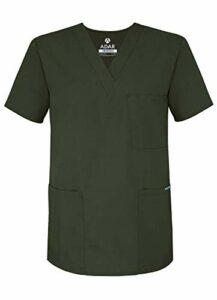 Adar Uniforms Uniformes Médicaux Unisexe Col V Tunique 3 Poches Haut d'infirmier Blouse d'Hôpital, Vert (Olive), 2X-Poitrine:129-137cm,Hanche:127-134cm
