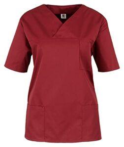 BEB Tunique unisexe pour femme, tunique à enfiler, tunique de soins, colorée, légère, hôpital, cabinet médical, tissu sanfor, fabriqué en UE – Rouge – XS