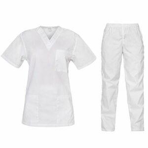 B-well Cesare Uniforme Médicale Unisexes Ensemble: Haut et Pantalons + Blouse Medicale Femme/Homme – Tenue Aide Soignante Professionnelle Blanc. XS