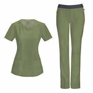 Cherokee Infinity Ensemble d'infirmière avec haut à col rond 2624A pantalon slim taille basse 1124A pour femme – Vert – Taille L
