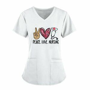Kavitoz® T-shirt pour femme avec inscription en anglais « Love » – Manches courtes – Col en V – Tunique à enfiler avec poche – Vêtement professionnel infirmière – Blanc – L