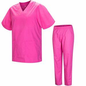 Misemiya – Ensemble Uniformes Unisexe Blouse – Uniforme Médical avec Haut et Pantalon – Ref.8178 – Medium, Rose