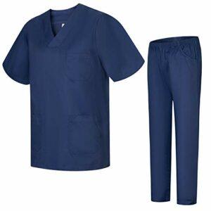 Misemiya – Ensemble Uniformes Unisexe Blouse – Uniforme Médical avec Haut et Pantalon – Ref.8178 – XX-Large, Bleu Marine