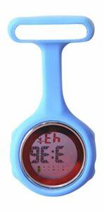 Montre pour infirmier numérique à clip en silicone Ellemka JCM-330. Montre pour infirmier à quartz mesurant le pouls à attacher à une poche. Design tendance, couleur : bleu ciel. Emballage d'origine