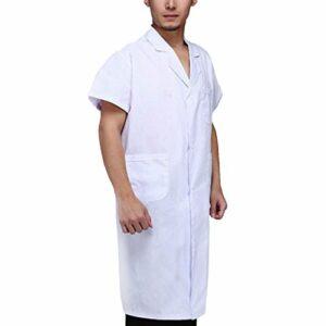 sharprepublic Hommes à Manches Courtes Blouses Blanches Blouse De Laboratoire Médecin Infirmière Uniforme – Blanc, S