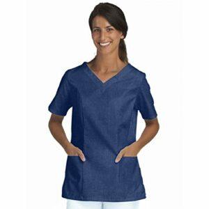 Soyin Tunique Professionnelle de Travail Blanche à Manches Courtes Femme crèche Infirmier internat médical Denim Stretch Numeric_38″