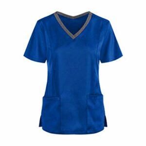 Tunique à enfiler – Pour médecine et soins – Couleur unie – Col en V – Uniforme de travail – Avec poches – Vêtement de travail – Multicolore – Taille Unique