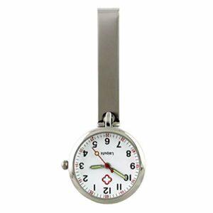 VILLCASE Montre de poche portable pour infirmière, montre de poche tendance, montre à clip créative, montre à suspendre pour homme et femme, cadeau (argenté)