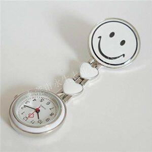 Aerlan Regarder Digital for Doctors Nurses Paramedics,Épinglette pour Montre de Poche médicale à Pince,Montre Infirmière Smiley Clip Poitrine Montre Pocket Watch-White_10pcs