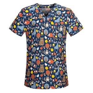 Blouse de soins pour femme – Motif coloré – Pour infirmière – Grande taille – Avec deux hauts t-shirts – Beige – Taille Unique