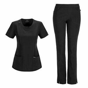 Cherokee Infinity Ensemble d'infirmière avec haut à col rond 2624A pantalon slim taille basse 1124A pour femme – Noir –