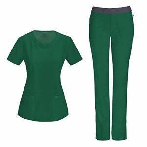 Cherokee Infinity Ensemble d'infirmière avec haut à col rond 2624A pantalon slim taille basse 1124A pour femme – Vert – Taille M