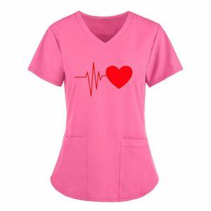 Dasongff Hôpital – Tunique courte à enfiler – Motif d'amour – Col en V – Tunique à enfiler avec motif – Pour femme – Uniforme professionnelle – Vêtement d'infirmière